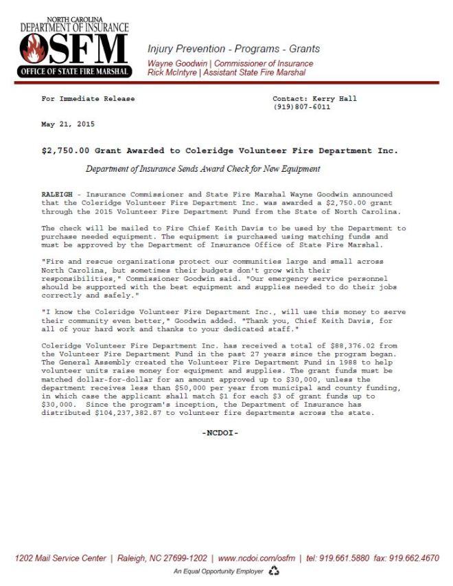 Fire Grant Press Release